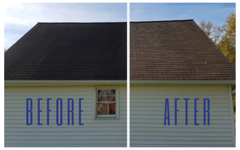 Roof Wash Before and After Picture